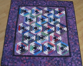 Batik Hexagon Log Cabin Lap Quilt