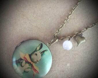 Cute Bunny Locket Necklace. Vintage Inspired Antique Bronze Photo Locket Necklace..