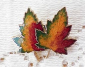 Colorful Enamel Double Maple Leaf / Leaves Pin / Brooch / Broach