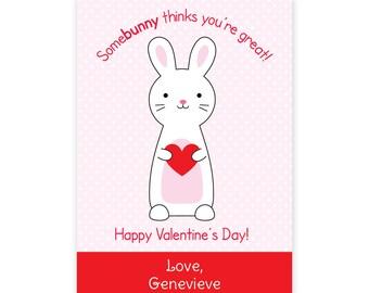 PRINTABLE Bunny Valentine Cards - Bunny Rabbit Valentines - Bunny Class Valentines - PDF Bunny Valentine Cards