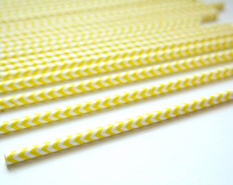 25 - YELLOW Chevron Paper Straws - other colors available