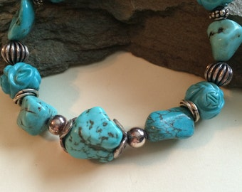 Turquoise Nugget and Sterling Silver Bracelet