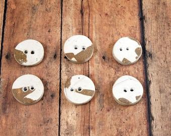 6 Unique Buttons - Stoneware Ceramic Pottery Handmade Buttons - 756