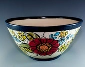 Colorful ceramic bowl, Pottery Bowl Hand Painted, Decorative Stoneware Bowl SKU154-008