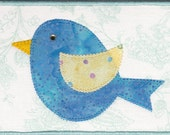 Baby Blue Bird Quilted Fabric Postcard