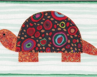 Turtle Quilted Fabric Postcard