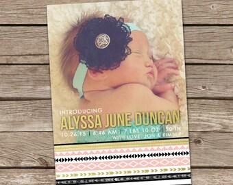 Birth Announcement : Printable Alyssa  Baby Girl Custom Photo Birth Announcement