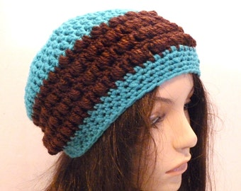 Crochet Slouchy Hat in Aquamarine Blue and Brown, For Teens and Women, Beanie, Tam, Beret