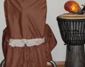 Little Desk Chair Cover Ready Made in Chocolate Brown fabric with Rosette and drawstring SALE
