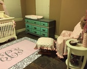 Personalized Classic Grey Damask and Pink Center Plush Fuzzy Area Rug -  Size 48x30, 60x48, 96x44, 96x60- can change colors