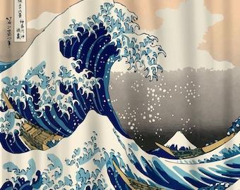 The Great Wave off Kanagawa Shower Curtain - CUSTOM Art rendition
