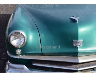 Kaiser-Frazer Digital download / Vintage / early 50s Kaiser sedan / green / mid Century / Photograph / Art / Home Decor / post WWII