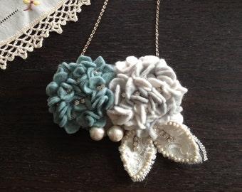 Hydrangea felt necklace & headpiece (2 ways wear) - BOA2