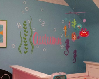 Ocean Wall Decals, Name Decal set with Seahorses, Girls Nursery Decor, Seahorse Wall Decals, Sea Ocean Friends