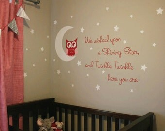 Owl Wall Decal Etsy - Wall decals nursery girl