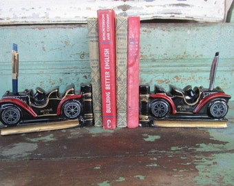 Vintage 1950's Ceramic Red clay Pottery Antique Old Car Bookends pen holder