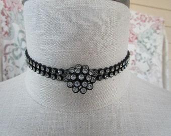 Vintage Soft Black Plastic Rhinestone Choker necklace