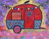 Raven Teardrop Trailer Gallery Wrap Canvas Print - Dream a Little Dream of You