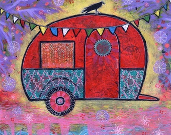 Raven Teardrop Trailer Canvas Print - Hippy, Colorful Art titled Dream a Little Dream of You