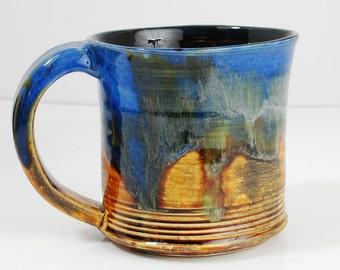 Mug Ceramic Yellow Blue Orange Red Ceramic Mug Large 12oz