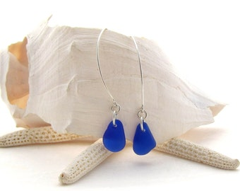 Saki Ear Wire with Cobalt Beach Glass/Sea Glass