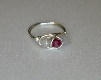 Gray and Red Jade Wire Wrapped Ring -- Sizes 3 - 15