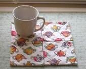 fruit and vegetables tea pots set of mug rugs