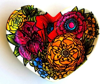 Ceramic Heart Tray Painted Flower Garden Poppies Plate Orchid Lily Jewelry dish Home Decor Red Orange Pink Green - Made to Order