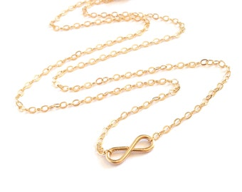 Infinity Necklace. Gold Infiniti Necklace