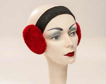 1920's Vintage Red  Fur Women's EARMUFFS, OOAK, Valentine's Day