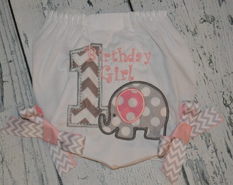 1st Birthday Elephant Bloomers, Monogrammed Elephant Bloomers, Baby Bloomers, Birthday Diaper Cover