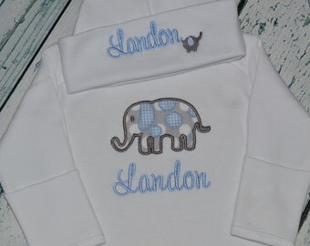 Personalized Elephant Infant Gown and Cap Set Layette Baby Gift