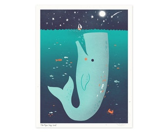Jonah and the Whale Illustrated Art Print