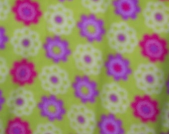 """Purple, Red and White Flowers on Green Background  Flannel  45"""" Wide Sold by the Yard"""