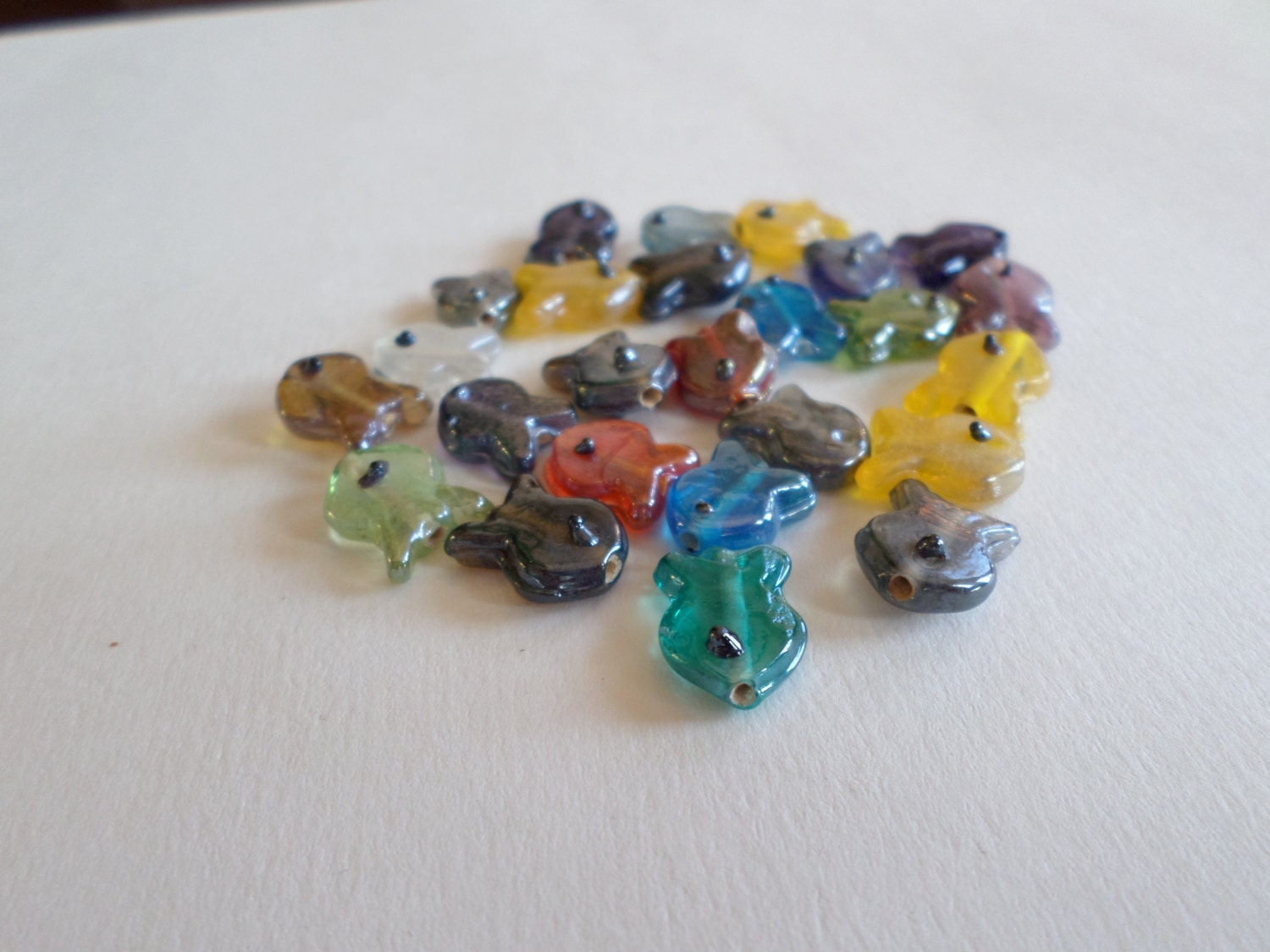 multi colored lustre glass fish beads