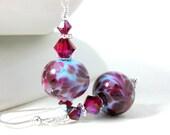 Periwinkle Blue & Fuchsia Glass Crystal Sterling Silver Dangle Earrings, Lampwork Earrings Art Glass Earrings, Drop Earrings, Glass Jewelry
