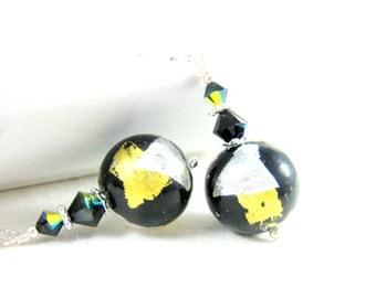 Black Gold Silver Earrings, Modern Earrings, Murano Glass Earrings, Party Earrings, Glass Earrings, Venetian Earrings, Murano Jewelry Night