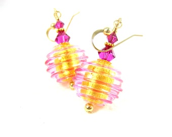 Pink & Gold Earrings, Murano Glass Earrings, Fuchsia Earrings, Dangle Earrings, Venetia Earrings, Gold Earrings, Murano Jewelry - Twisting