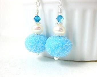 Blue Sugar Earrings, Glass Earrings, Snowball Earrings, Lampwork Earrings, White Pearl Earrings, Ice Blue Dangle Earrings, Snow Jewelry