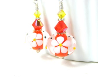 Daisy Earrings, Orange White Yellow Floral Earrings, Lampwork Earrings, Summer Earrings, Bright Color Jewelry Glass Earrings Picking Daisies