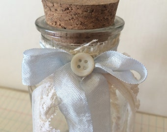Adorable Decorated Glass Apothecary Jar with Cork Lid