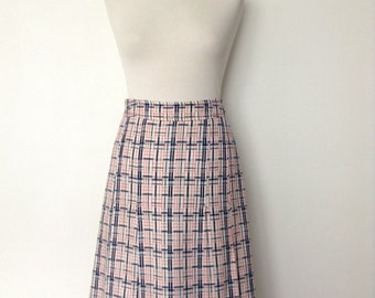 French vintage 1970s pleated checked skirt - white red and blue - medium M