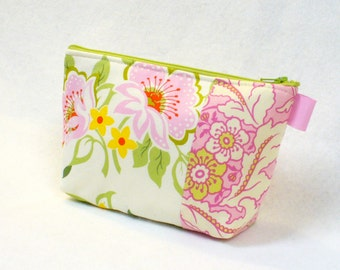Church Flowers Heather Bailey Fabric Large Cosmetic Bag Zipper Pouch Padded Makeup Bag Cotton Zip Pouch Pink Green Floral Mothers Day Gift