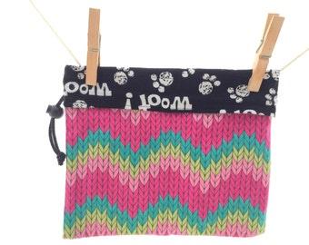 Reversible Project Bag, Knit Chevrons, Puppy Pawprints, Woof, Medium