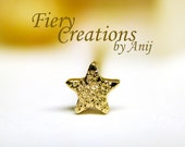 "Nose Screw / Tragus stud ""Golden Wish Star"" - Solid 18k Yellow Gold, highly Polished or Glittering!"