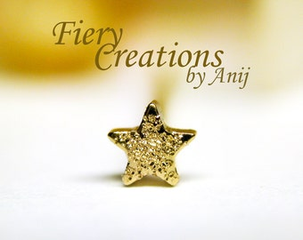 """Nose Screw / Tragus stud """"Golden Wish Star"""" - Solid 18k Yellow Gold, highly Polished or Glittering!"""