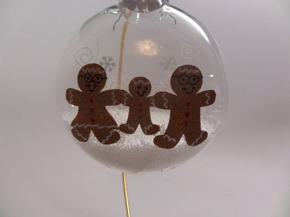 Hand Painted Ornament Grandpa, Grandma and Grandchild Gingerbread can be personalized