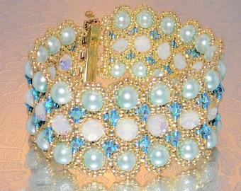 Swarovski crystal bracelet,White Opal and Turquoise crystal bracelet,pearl bracelet,gold seed beads bracelet,seed bead jewelry