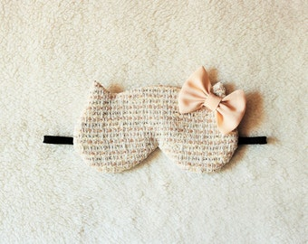 Fancy Yarn Tweed Silk Bow Cat Eye Mask