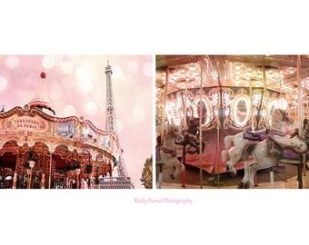 Paris Carousel Carnival Prints, Paris Photography, Baby Girl Nursery Decor, Paris Carousel Horses Decor, Paris Merry Go Round Print Set of 2